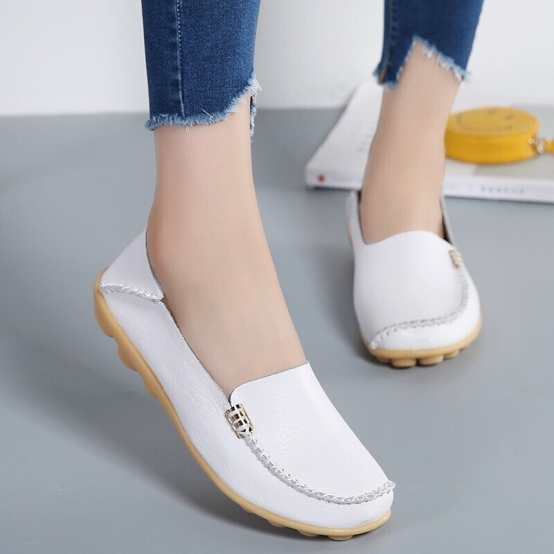 Orthopedic Leather Loafers Flats Shoes Fashion Walking Ladies Comfortable Casual Shoe