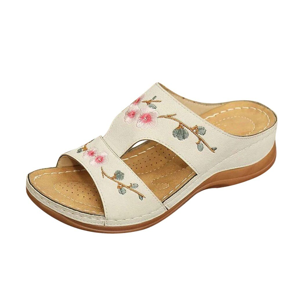Flower Embroidered Vintage Premium Open Toe Woman Sandals