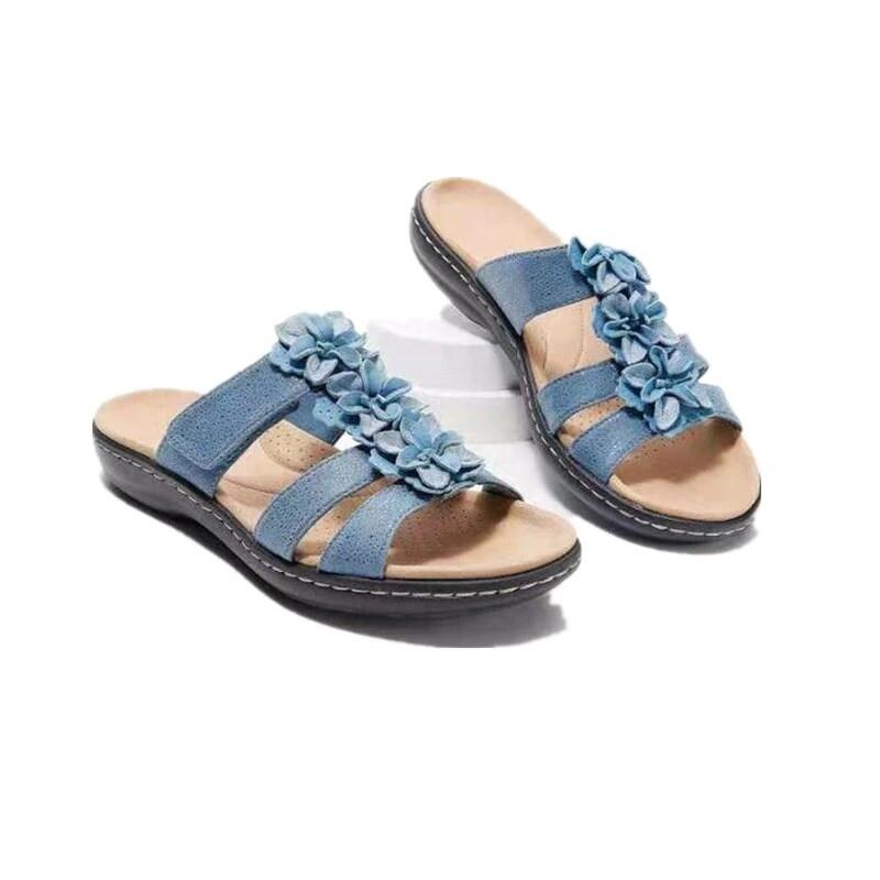 Women Leather Comfortable Unique Flower Detail Sandals Summer Flip Flops