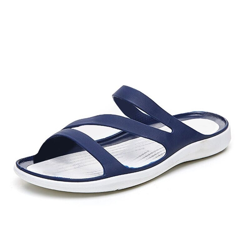 Summer Women Jelly Comfortable Flat Flow Heel Peep Casual Sandals