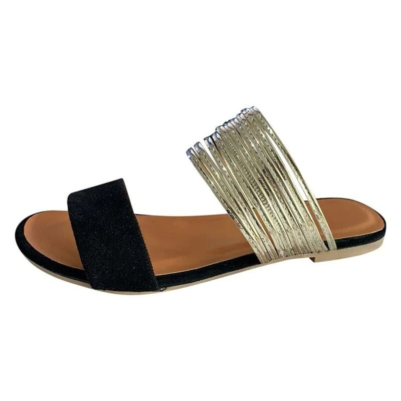 Summer Women Fashion Casual Vintage Flat Metal Decoration Slippers
