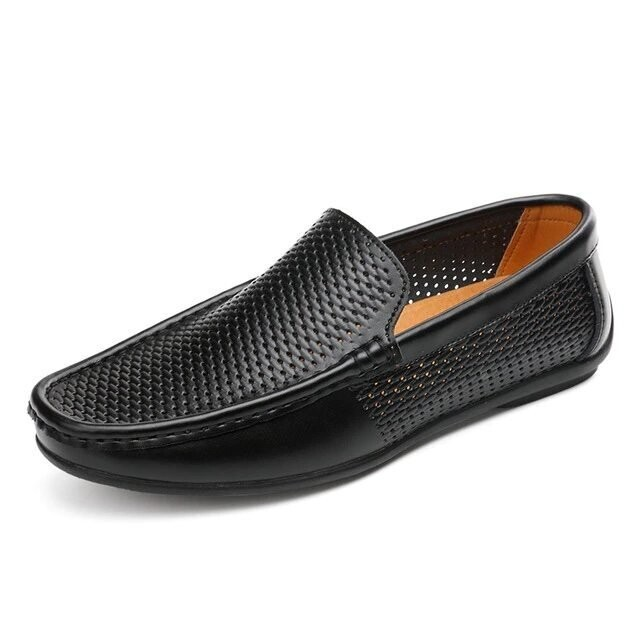 Leather Casual Summer Moccasins Loafers Hollow Out Slip On