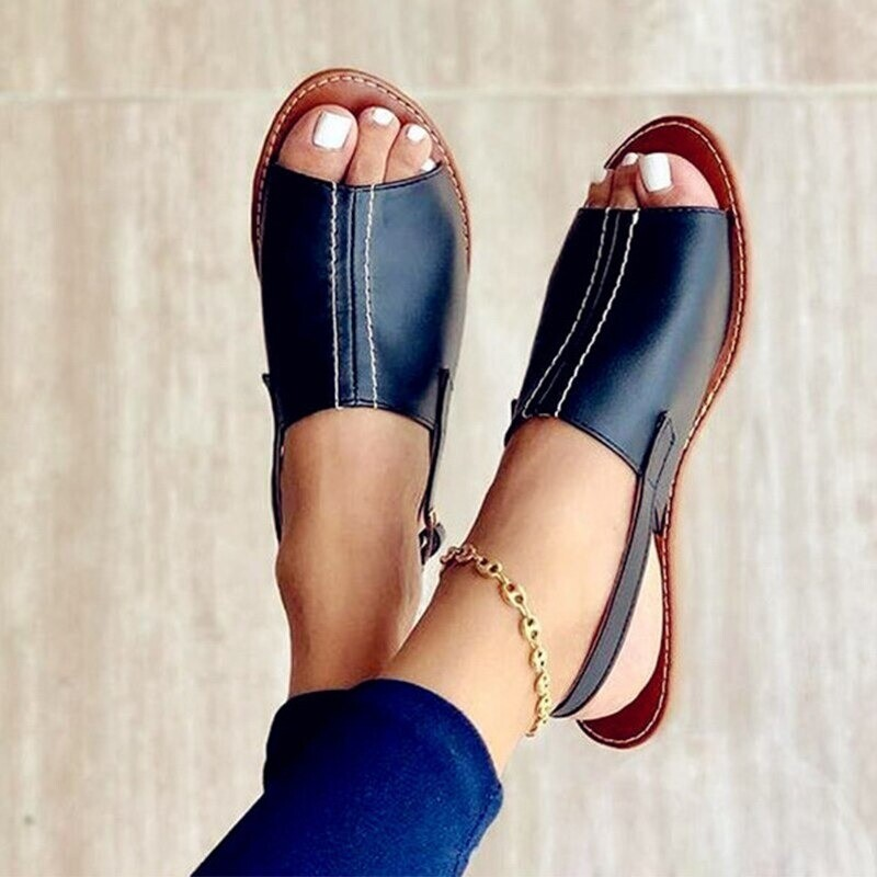 Women New Summer Flat Peep Toe Back Strap Sandals Slip On Casual Design