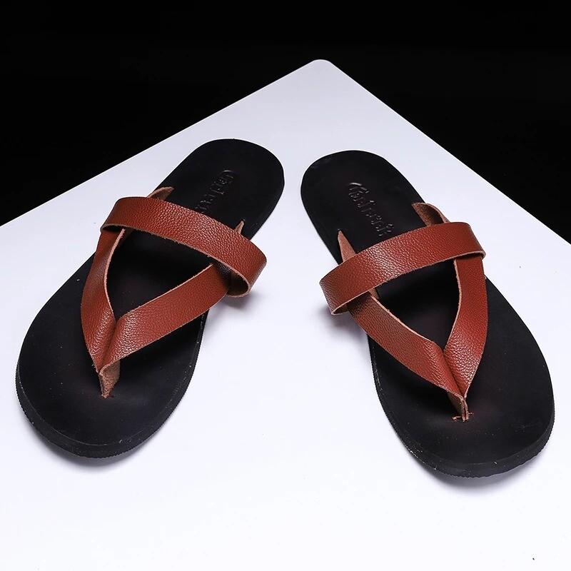 Men Slippers Flat Fashion Summer Leather Flip Flops
