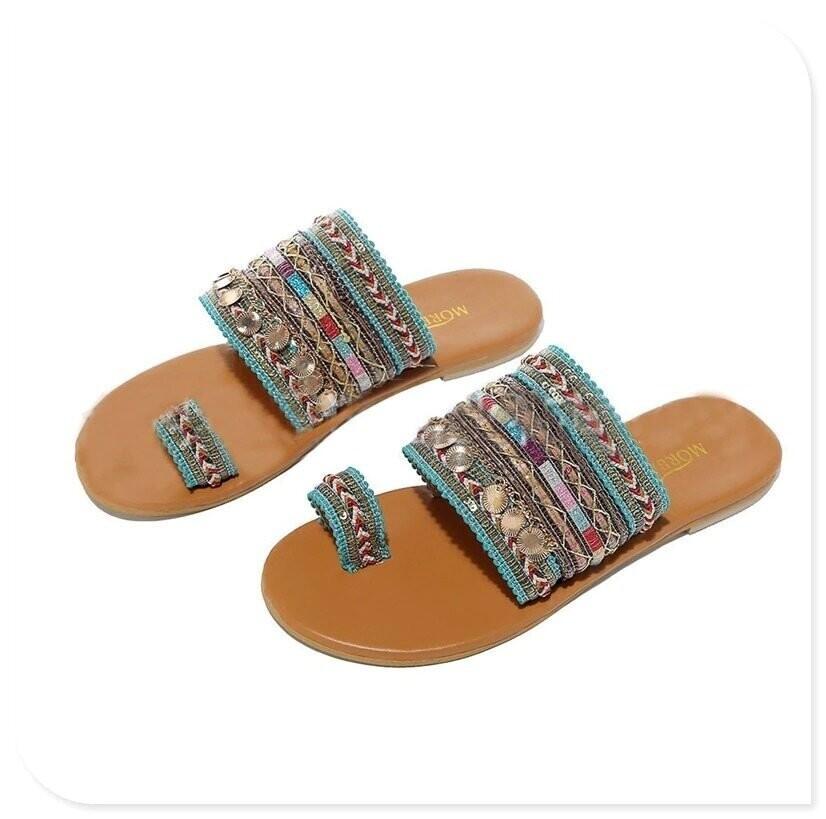 Summer Bohemian Style Sandals For Women Comfortable Flat Toe Ring Dressy Design Beach Women Sandal
