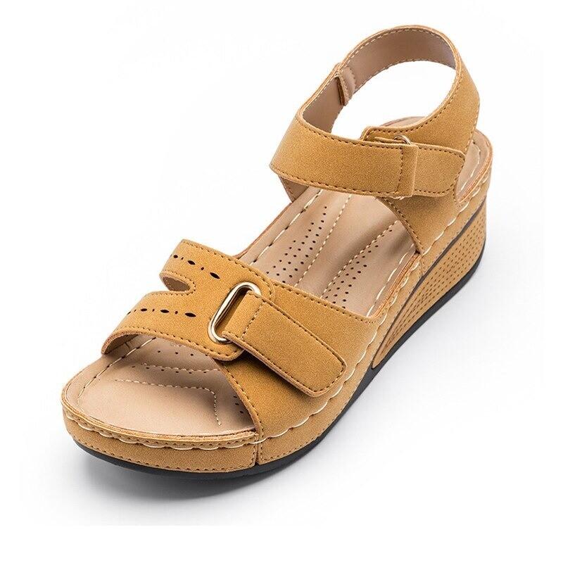 New Summer Sewing Retro Buckle Strap Hook Loop Soft Platform Sandals