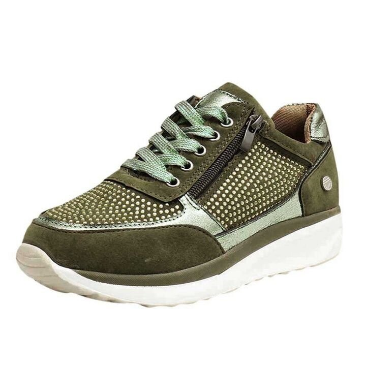 Women Zipper Lace Up Orthopedic Bunion Corrector Sneaker Wedge Flat Shoes