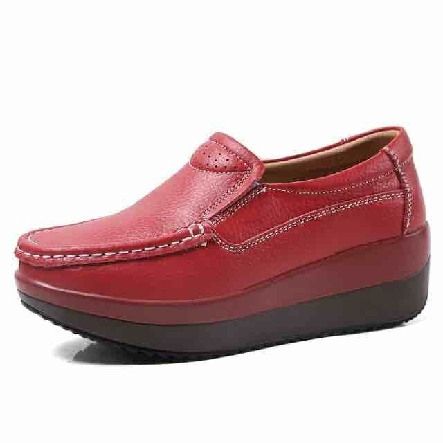 Women Orthopedic Soft Sole Moccasins Elegant Genuine Leather Shoes Slip On Casual