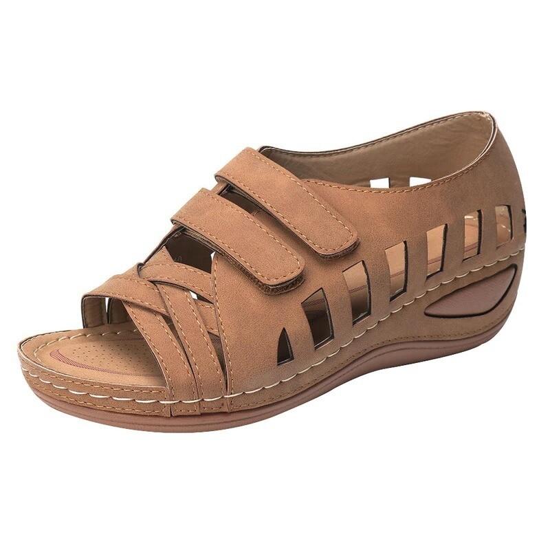 Women Hollow Sandals Breathable Hook Loop Open Toe Summer Soft Beach Shoes