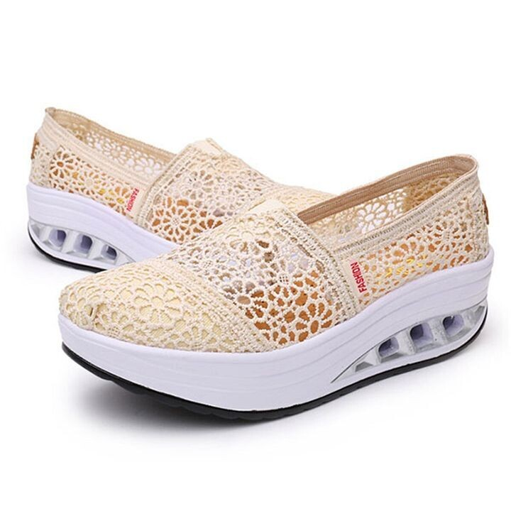 Summer Lace Shoes Breathable Platform Sole Slip On Height Increasing For Women