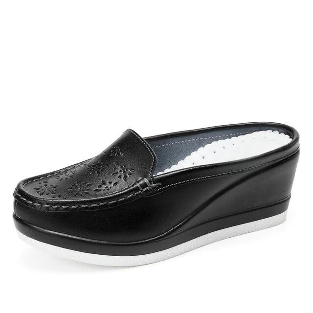 Women's Summer Platform Shoes Closed-Toe Casual Hollow Half High Heel Slippers