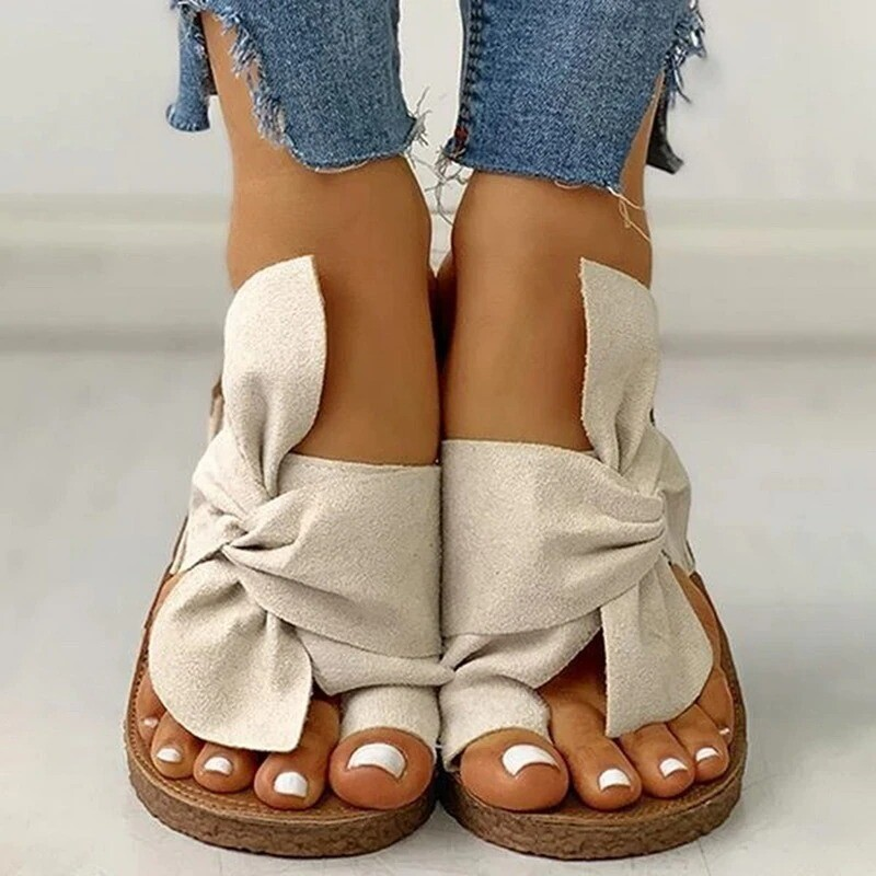 Women Summer Casual Comfortable Bow Knot Ankle Buckle Open Toe Sandals Design