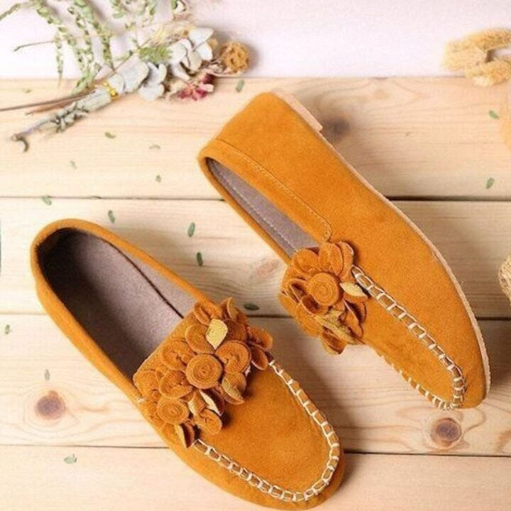 Woman Flower Decor Loafers Soft Bottom Female Faux Leather Sandals For Women