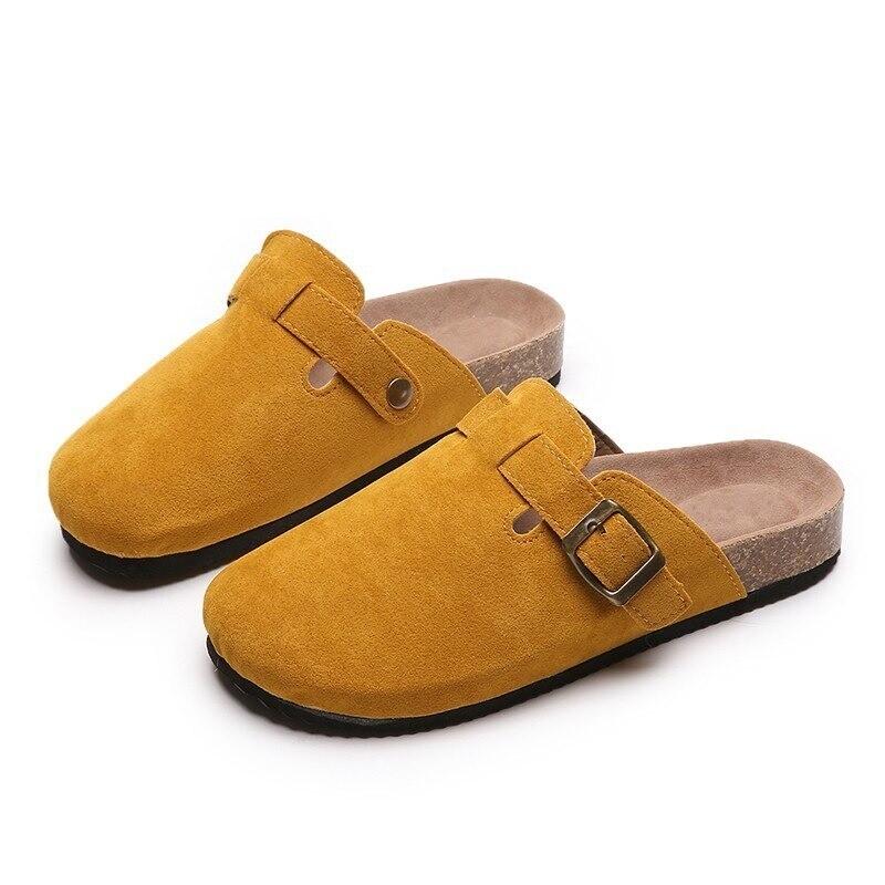 Women Casual Faux Suede Slippers Wedges Heel Cork Ladies
