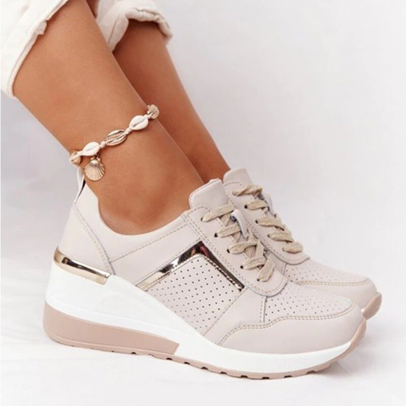 2021 New Women Sneakers Comfy Lace-up Wedge Sport Design