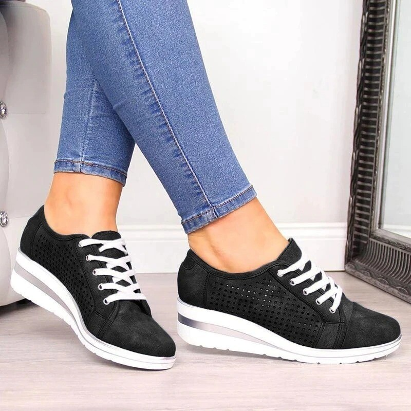 Summer Women Comfortable Mesh Hollow Casual Shoes Slip On Flats Loafers Lace Up