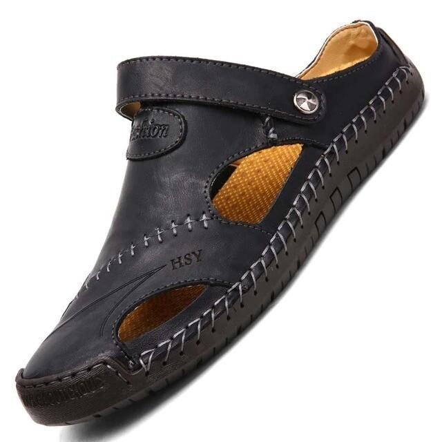 Men's Sandals Genuine Leather Soft Breathable Shoes Design Sandals Slippers