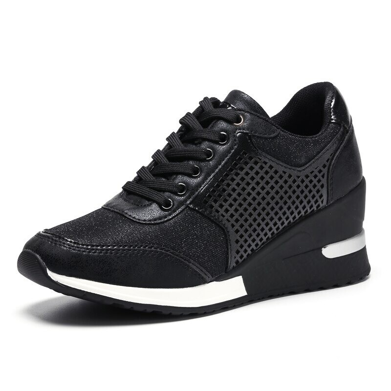 New Women Sneakers Wedge Walking Soft Casual High Heel Design
