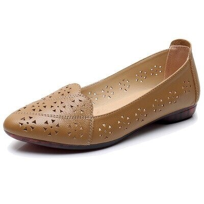 Breathable Genuine Leather Summer Shoes Woman 2021 Flat Heel Hollow Out Flats Slip On Shoes