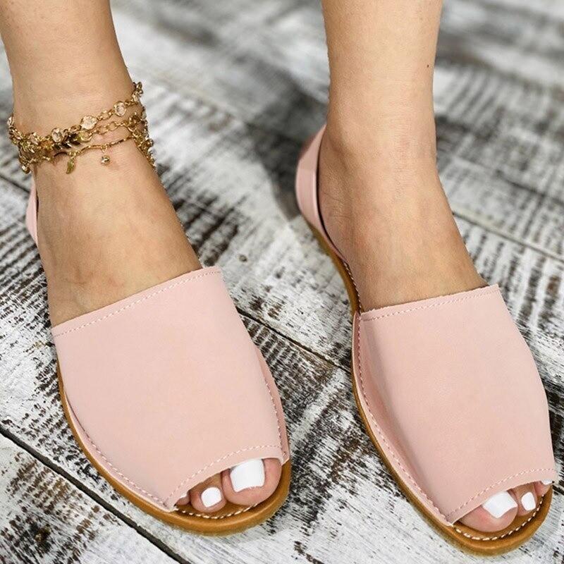 Summer Sandals Women Flats Female Casual Peep Toe Shoes PU Slip on
