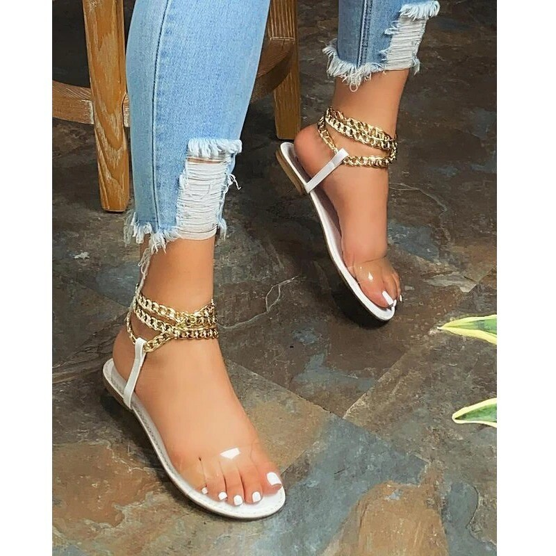 Summer New Style Flat Sandals Fashion Solid Color Chain Open Toe Outdoor Plus Size
