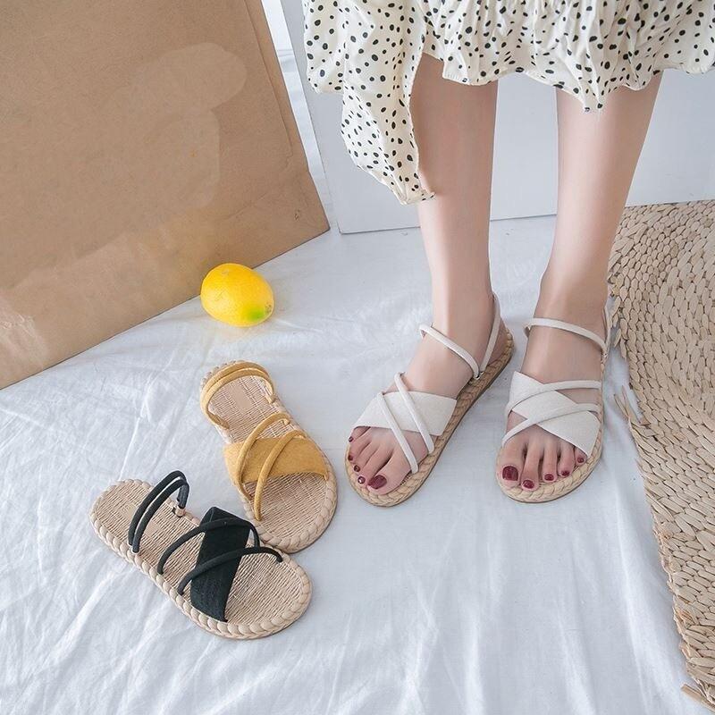 Summer Woman Sandals Flat Thin strips Gladiator Beach Flip Flops