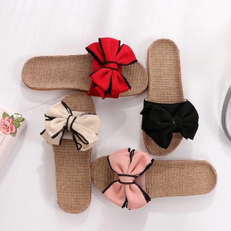 New Butterfly-Knot Home Slippers Summer Cool Eva Women Linen Sandals Flip Flops