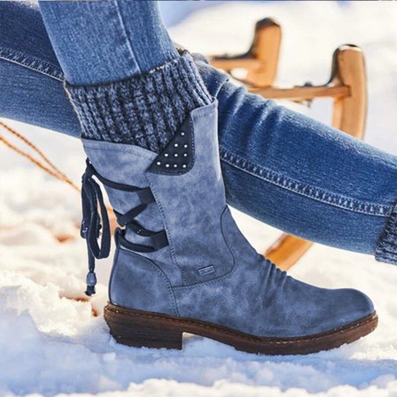 Women's Winter Warm Back Lace Up Snow Boots Flock Shoes