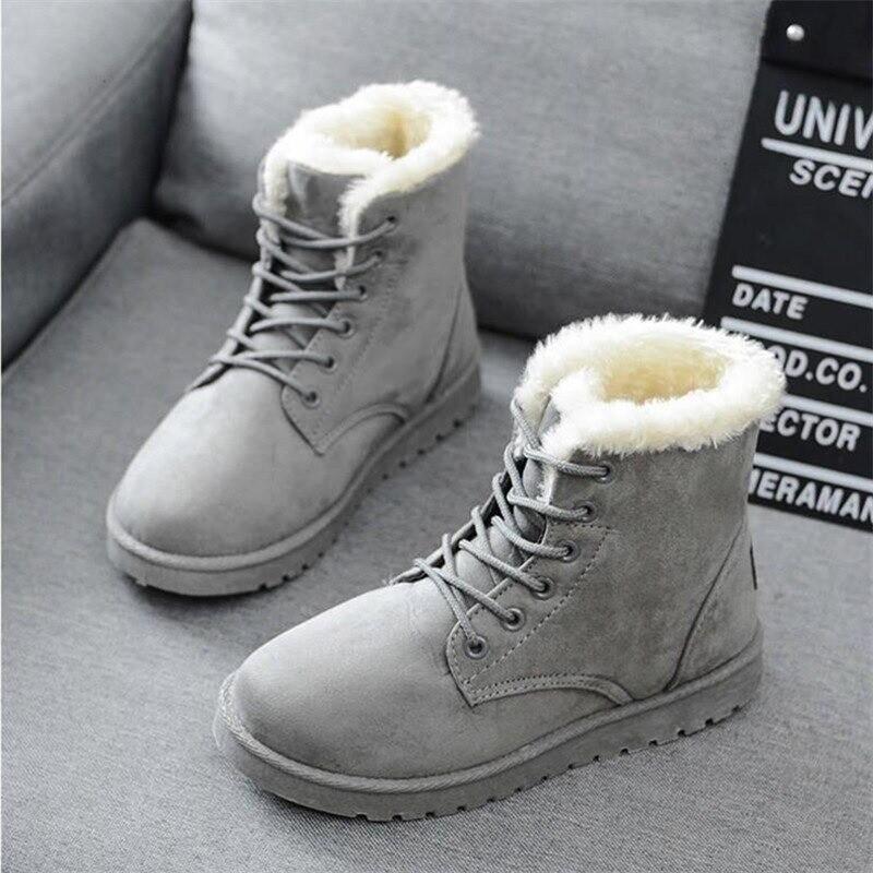 Women Warm Fur Waterproof Ankle Snow Boots Lace Up