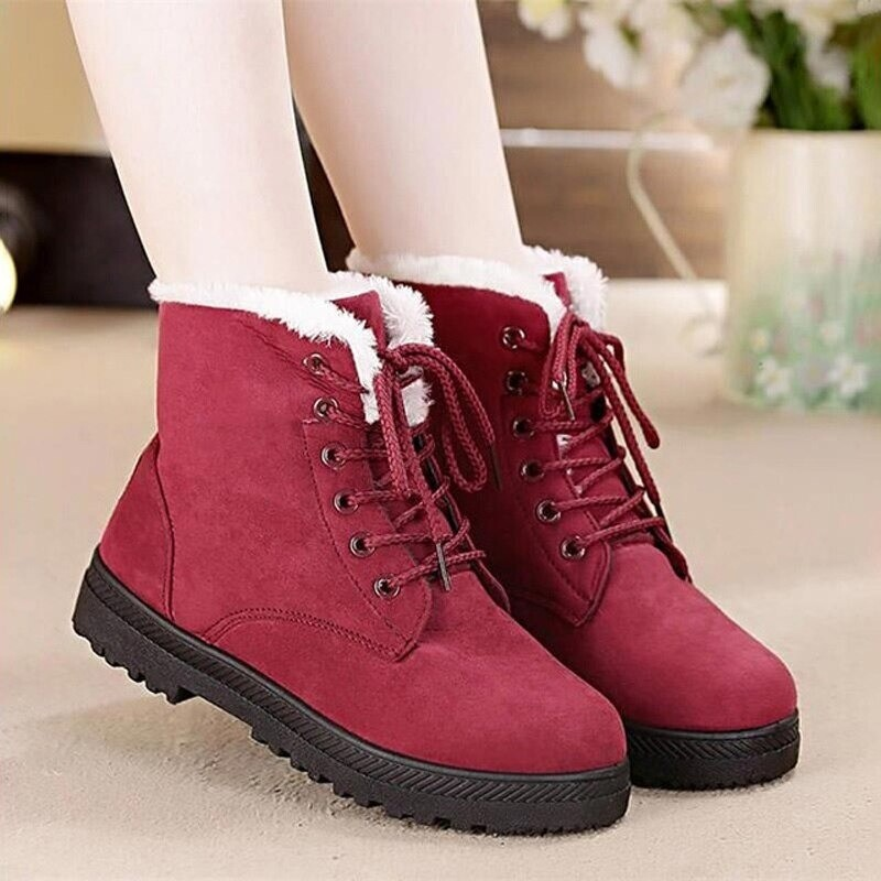 Snow Boots Warm Fur Plush Insole Ankle Boots