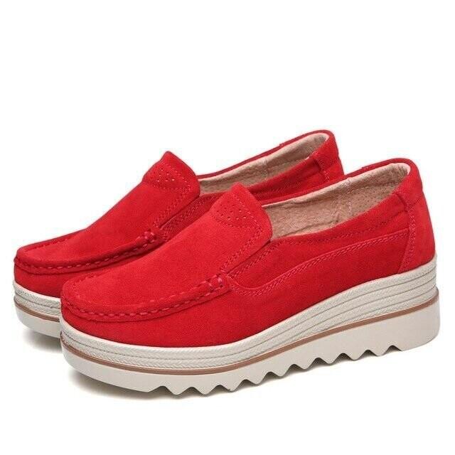 Ladies Flats Women Soft Moccasins Sole Platform Slip On Suede Casual Shoes