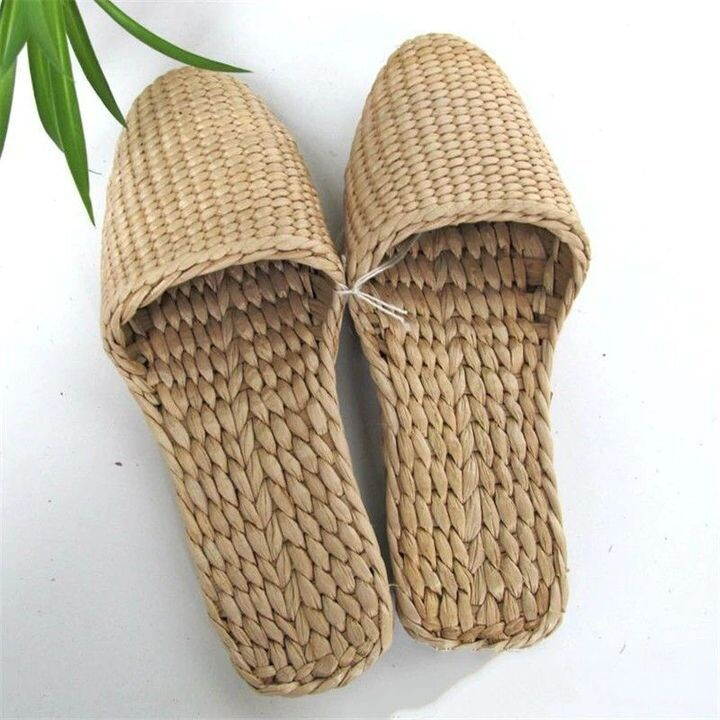 Unisex Cane Slippers Pure Natural Handmade Environmentally Indoor Soft Sandals Flip Flops