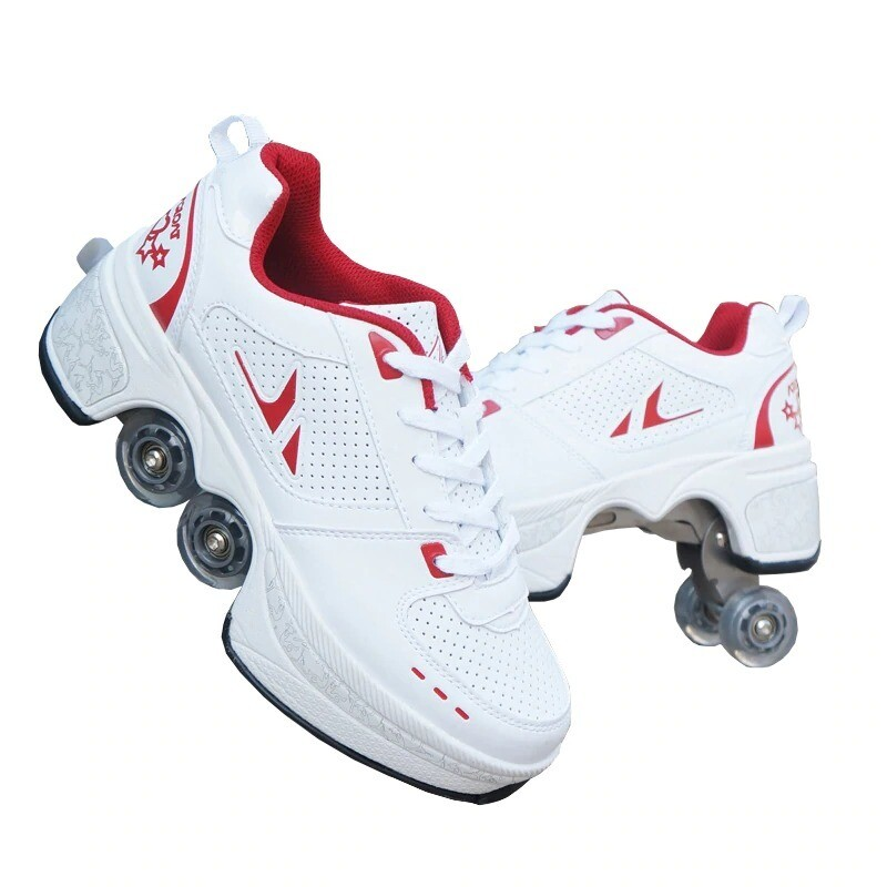 Unisex Roller Shoes Skate Shoes Four Wheel Shoes Roller Sneakers Shoes