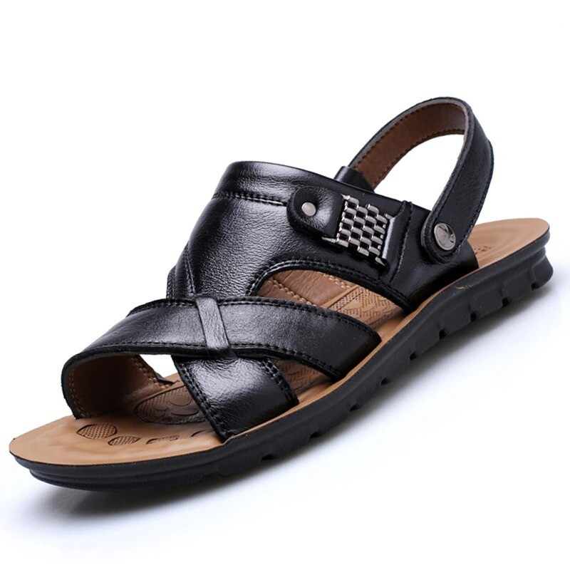 Men Leather Sandals Summer Classic Slippers Soft Roman Comfortable Outdoor Walking
