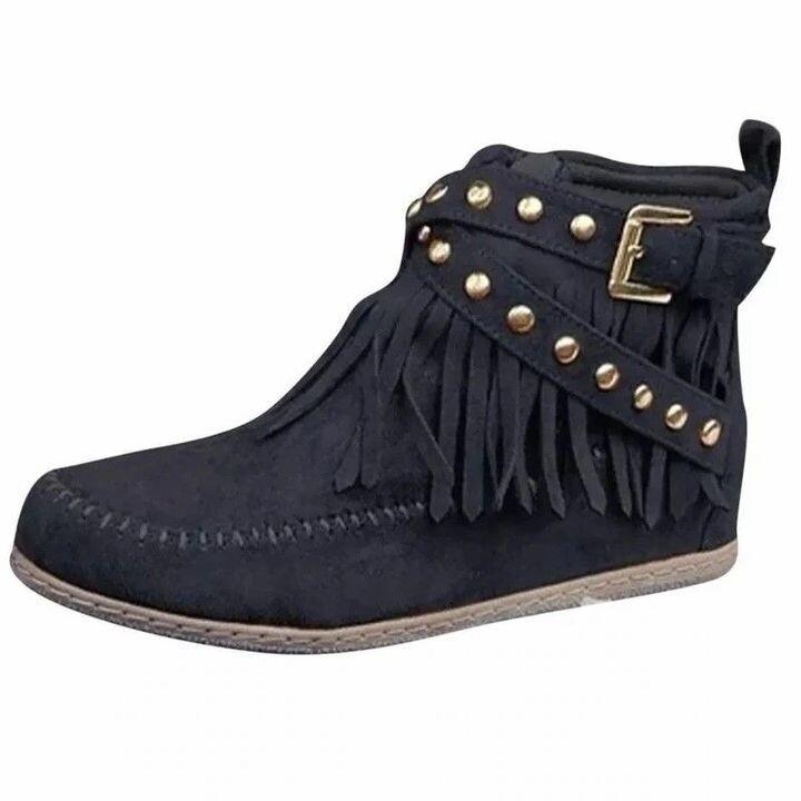 Women Vintage Rivets Tassels Flat Heel Suede Ankle Boots