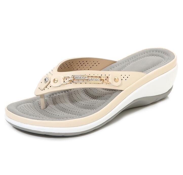 Women's Slippers Summer New Fashion Metal Button Slides Wedge Platform Leisure Flip Flops