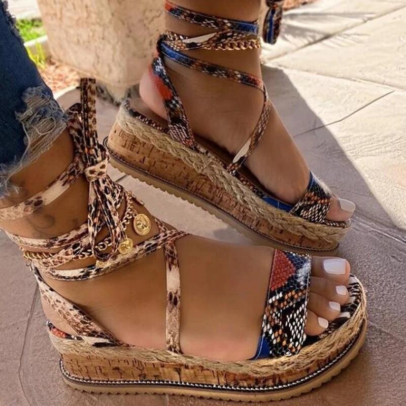 New Summer Women Snake Sandals Platform Heels Cross Strap Ankle Lace Peep Toe Beach Party