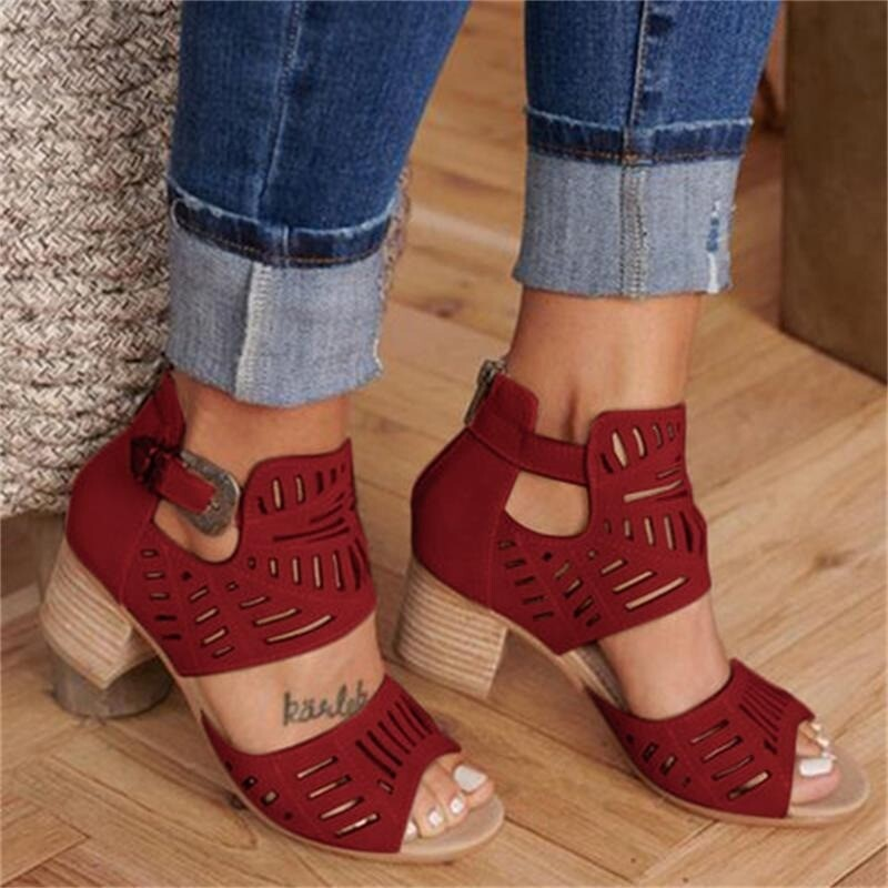 Women Vintage Hollow Out Sandals Mid Heel Summer Slip-on Buckle Open Toe Casual Pumps