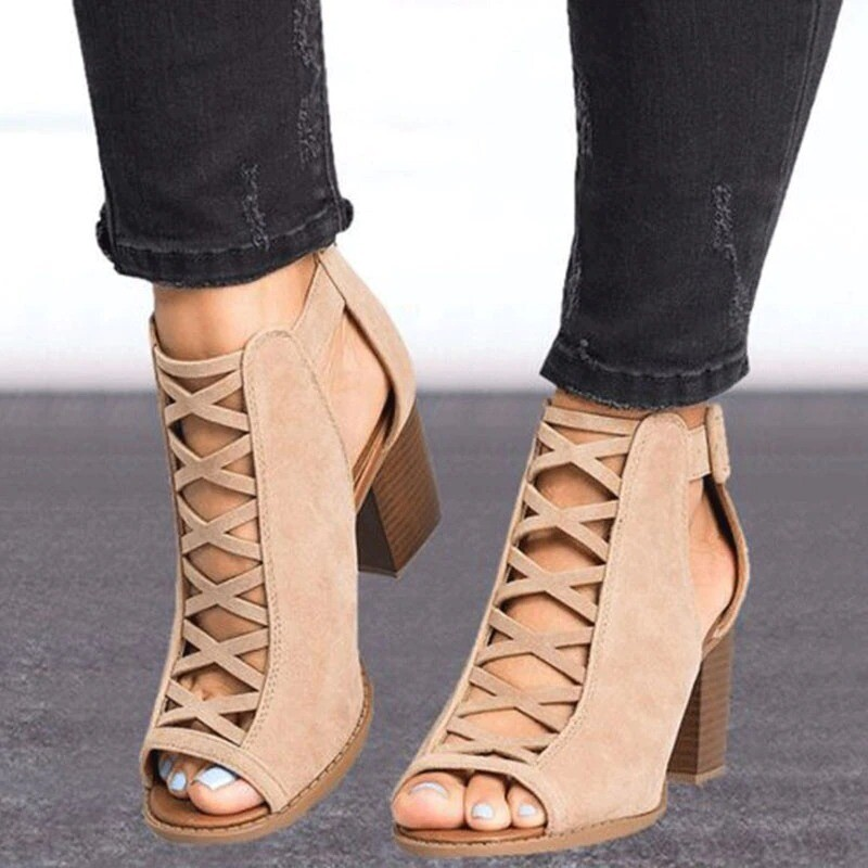 Women Square Heel Sandals Peep Toe Hollow Out Chunky Gladiator with Strap