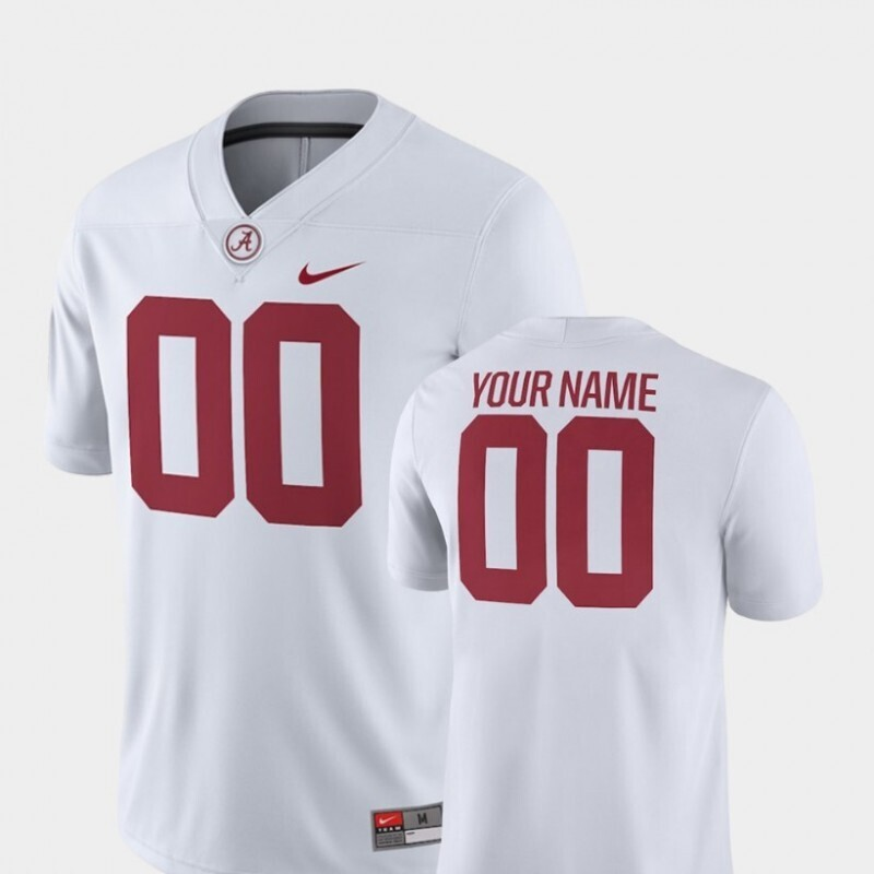Alabama Crimson Tide Custom Name and Number College Football Game White Jersey
