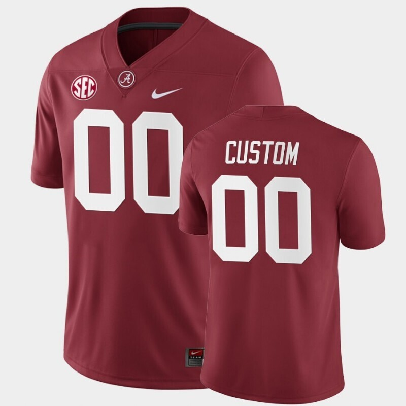 Alabama Crimson Tide Custom Name and Number Crimson College Football Home Game Jersey