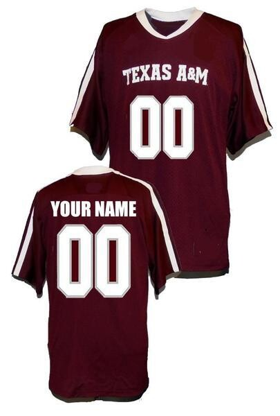Texas A&M Aggies Style Customizable Football Jersey Style 1