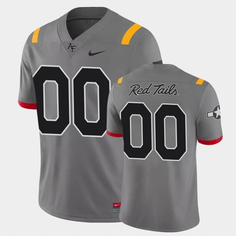 Custom Name and Number Air Force Falcons Anthracite Game Red Tails Alternate Jersey