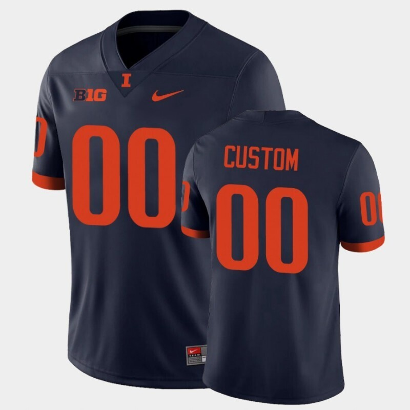 Illinois Fighting Illini Custom Name and Number Navy College Football Jersey