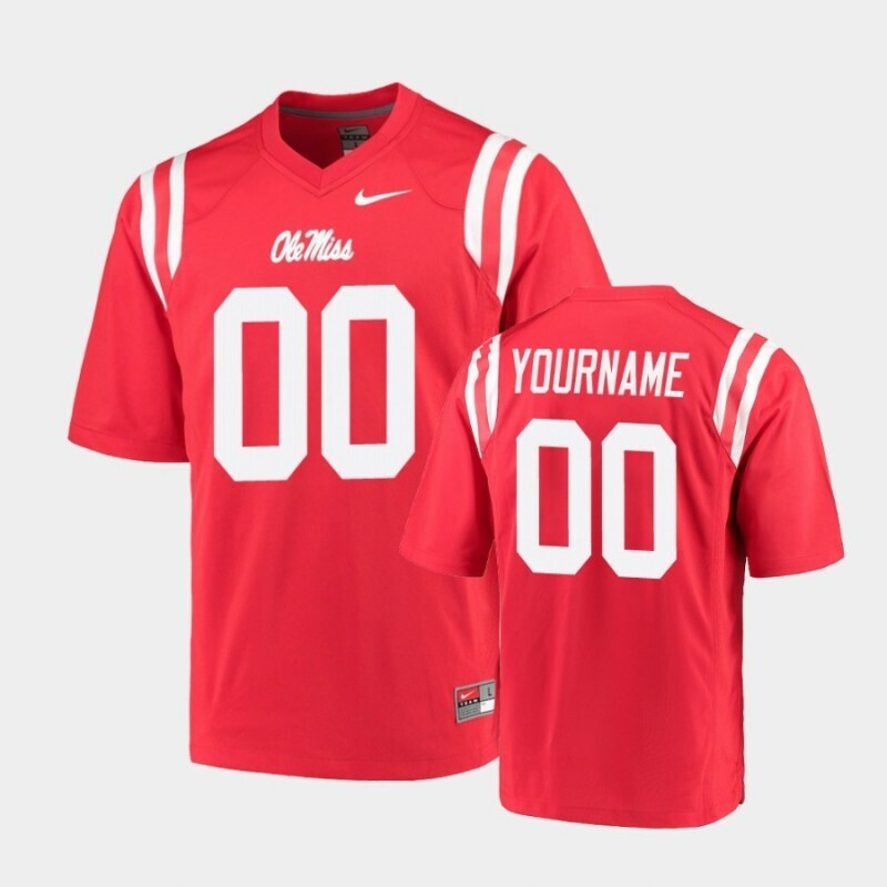 Ole Miss Rebels Custom Name and Number Red College Football Game Jersey