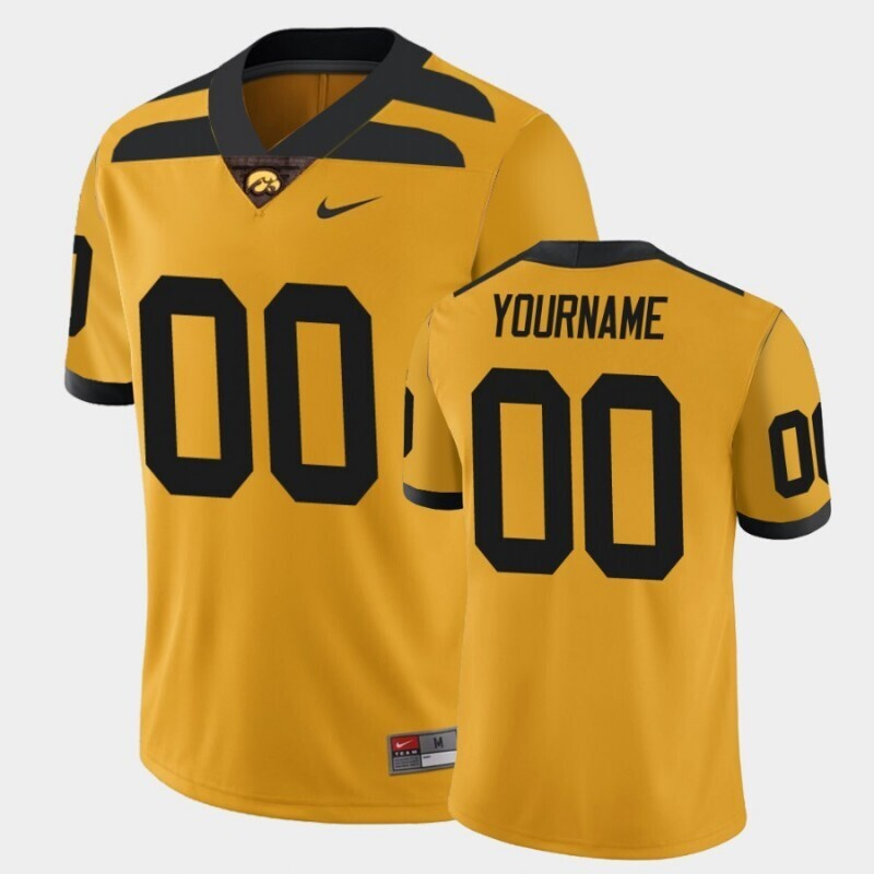 Iowa Hawkeyes Custom Name and Number Gold College Football Alternate Game Jersey