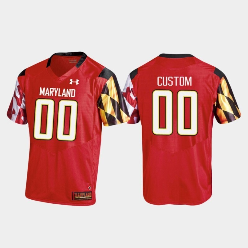 Maryland Terrapins Custom Name and Number College Football Replica Under Armour Red Jersey