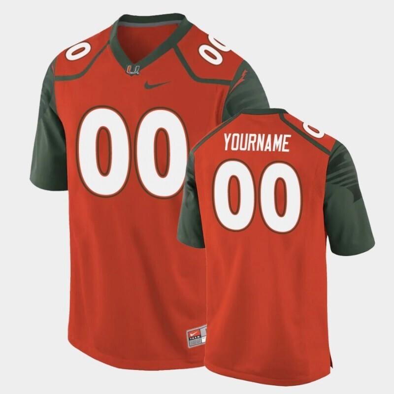 Miami Hurricanes Custom Name and Number Orange Replica College Football Jersey