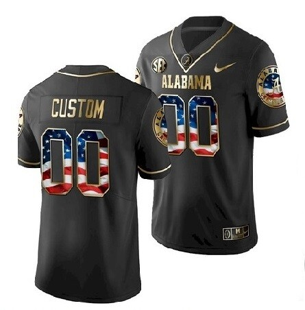 Alabama Crimson Tide Custom Name and Number Football Black Jersey Gold Flag