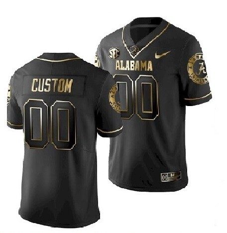 Alabama Crimson Tide Custom Name and Number Football Black Jersey Golden